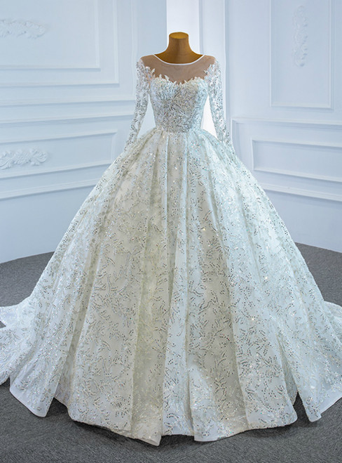 Shop Sexy White Ball Gown Sequins Long Sleeve Pleats Wedding Dress
