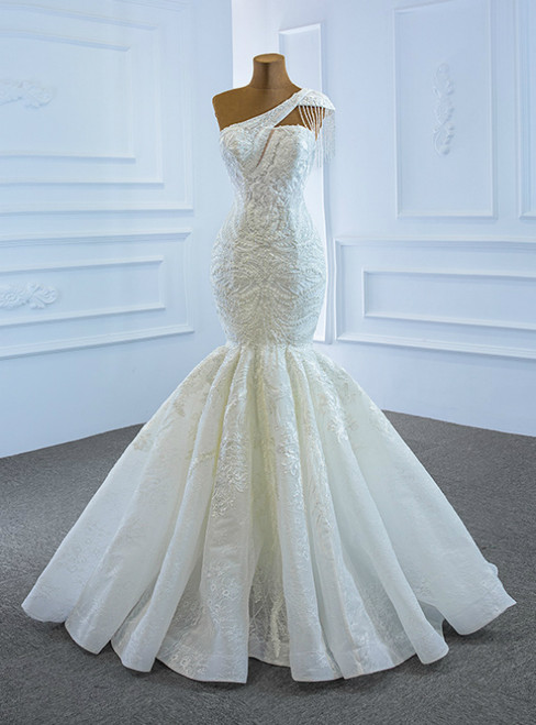With 1000s Of White Mermaid Tulle Appliques One Shoulder Cap Sleeve Beading Wedding Dress