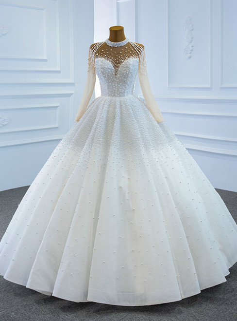 Whether You Are Looking For White High Neck Long Sleeve Tulle Pearls Floor Length Wedding Dress