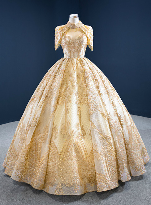 Be The Prom Queen Gold Ball Gown Sequins Sweetheart Neck Pleats Long Wedding Dress