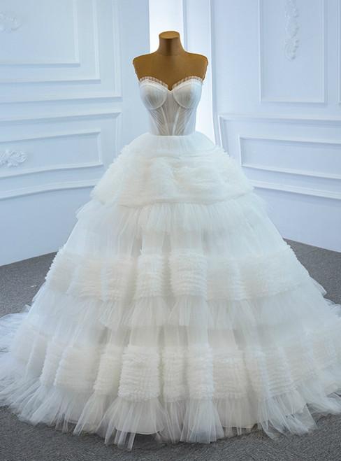 It's Prom Season White Ball Gown Tulle Sweetheart Pleats Tiers Wedding Dress