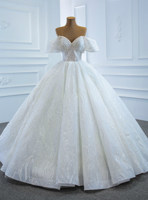 Amazing & Affordable White Ball Gown Tulle Sequins Off the Shoulder Floor Length Wedding Dress
