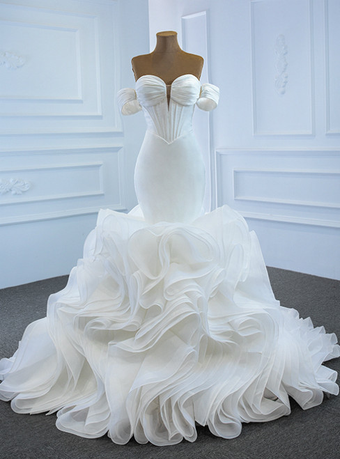 We Provide White Mermaid Satin Organza Sweetheart Pleats Wedding Dress