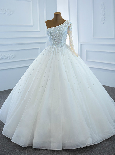 Hottest Items White Tulle One Shoulder Long Sleeve Pearls Wedding Dress