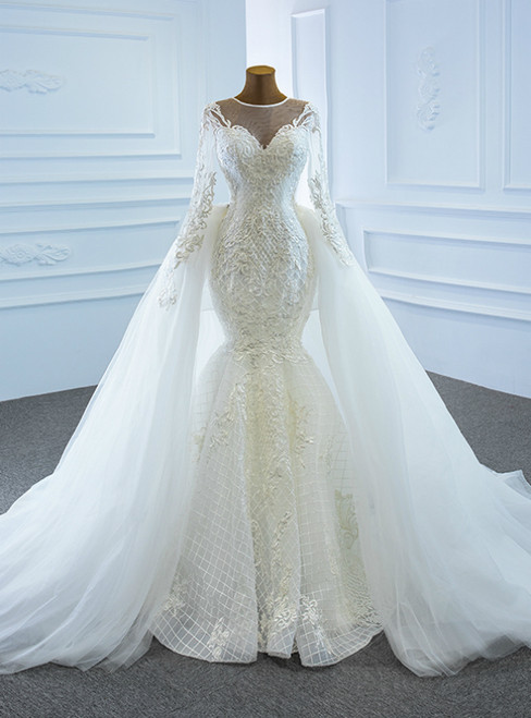 Shop This Selection Of White Mermaid Tulle Embroidery Appliques Long Sleeve Wedding Dress With Removable Train