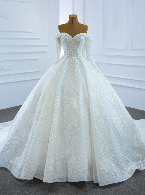 Stand Out With White Tulle Embrodiery Appliques Off the Shoulder Long Sleeve Beading Sequins Wedding Dress