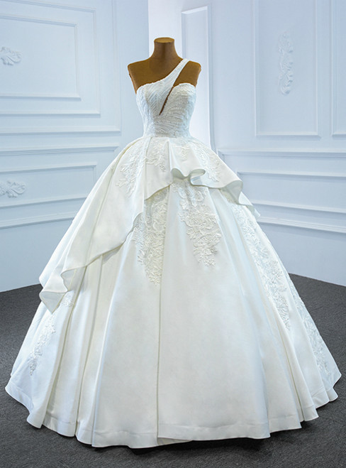 We Carry White Ball Gown Satin One Shoulder Beading Wedding Dress