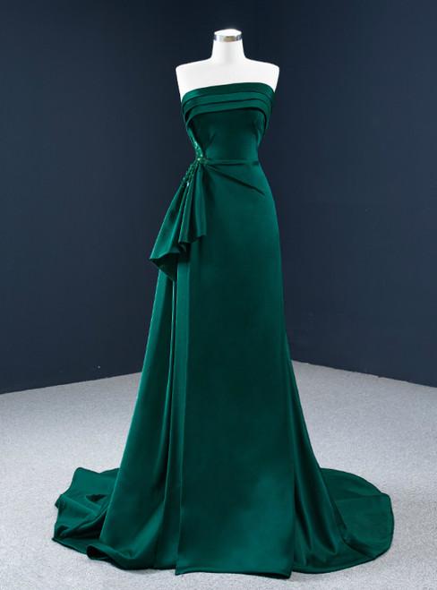 Affordable A-Line Dark Green Satin Strapless Pleats Beading Prom Dress