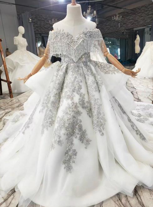 Light Gray Tulle Backless Cap Sleeve Sequins Beading Flower Girl Dress