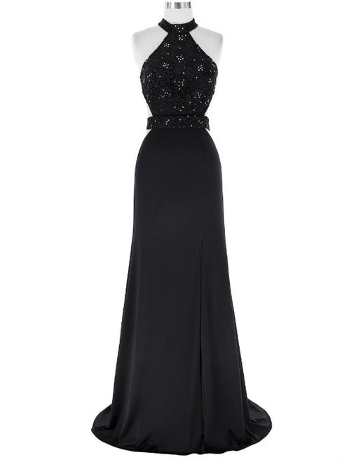 Black Floor Length Prom Dress Chiffon A-Line Evening Dress Featuring Lace Appliqués