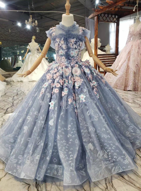 We Specialize In Custom Made Blue Ball Gown Tulle Appliques Beading Backless Flower Girl Dress