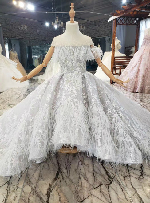 Find The Perfect Gray Ball Gown Tulle Beading Sequins Feather With Train