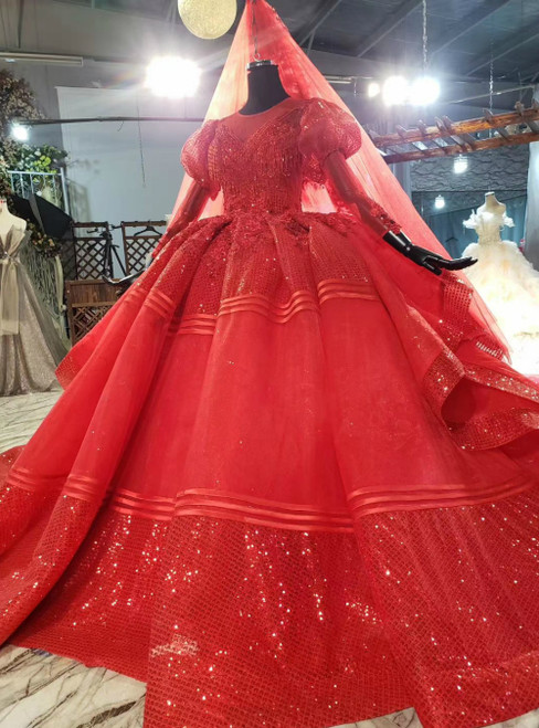 Buy The Newest Red Ball Gown Tulle Sequins Long Sleeve Appliques Beading Wedding Dress