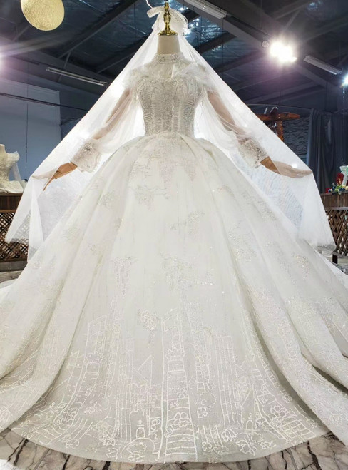 Shop Designer White Tulle Sequins High Neck Puff Sleeve Wedding Dress