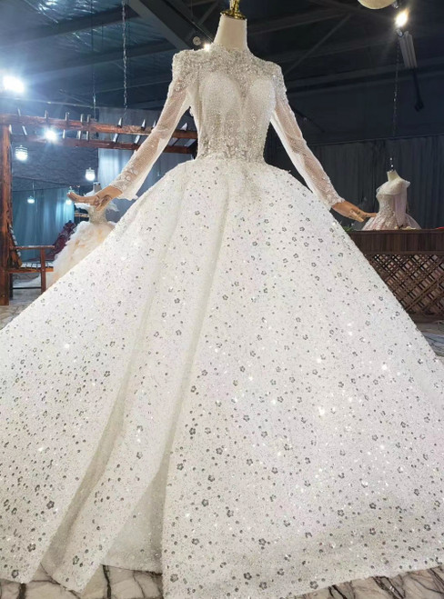 You Can Be The Star Ivory White Tulle Sequins Appliques Long Sleeve Wedding Dress