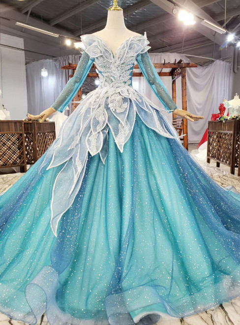 A Great Variety Of Blue Tulle Sequins Appliques Long Sleeve Wedding Dress
