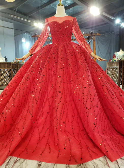 Demand Attention In Red Tulle Sequins Beading Long Sleeve Luxury Wedding Dress