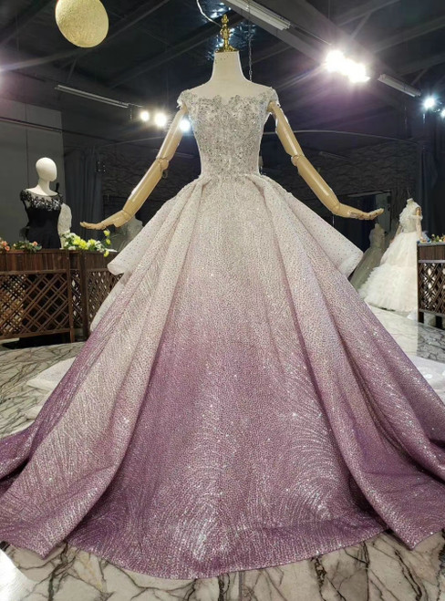Order Your Ideal Purple Tulle Sequins Cap Sleeve Backless Beading Crystal Wedding Dress