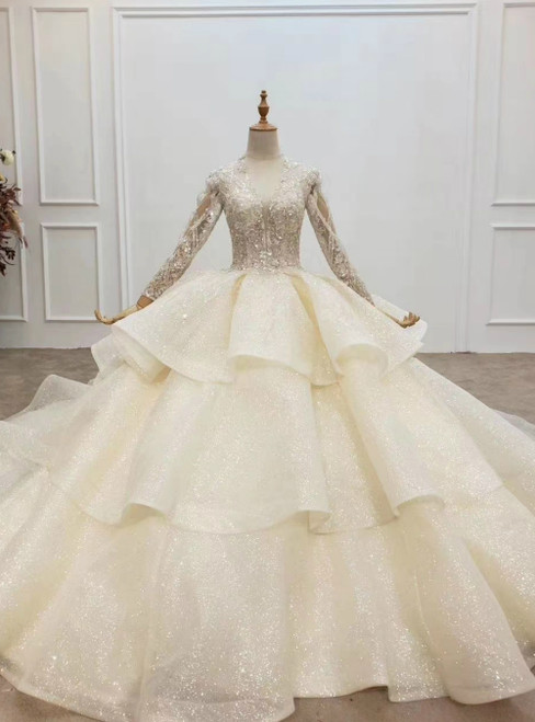We Offer a Variety Of Tulle Sequins V-neck Long Sleeve Beading Champagne Wedding Dress