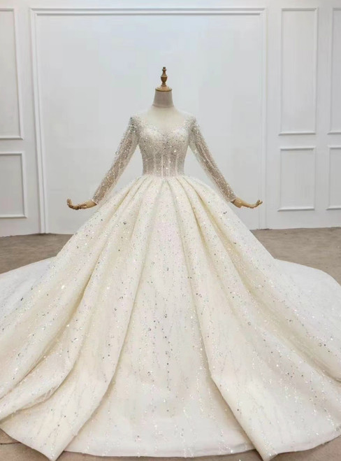 Best Discount And High Quality Light Champagne Tulle Sequins Long Sleeve Beading Wedding Dress