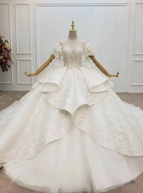Discover The Latest White Tulle Lace Off the Shoulder Beading Ruffles Pleats Wedding Dress