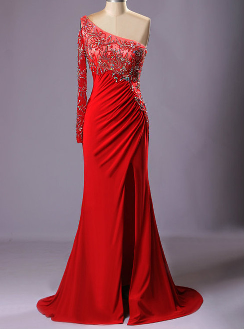 Red Bling One Shoulder Beads Crystal Vestido Para Formatura Longo Sexy Dress