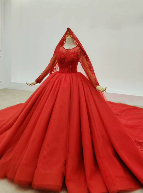 You Are Sure To Find The Perfect Red Ball Gown Tulle Appliques Beading Wedding Dress