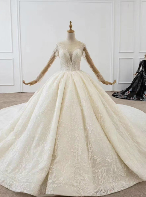 Luxury Tulle Sequins Long Sleeve Backless Beading Wedding Dress