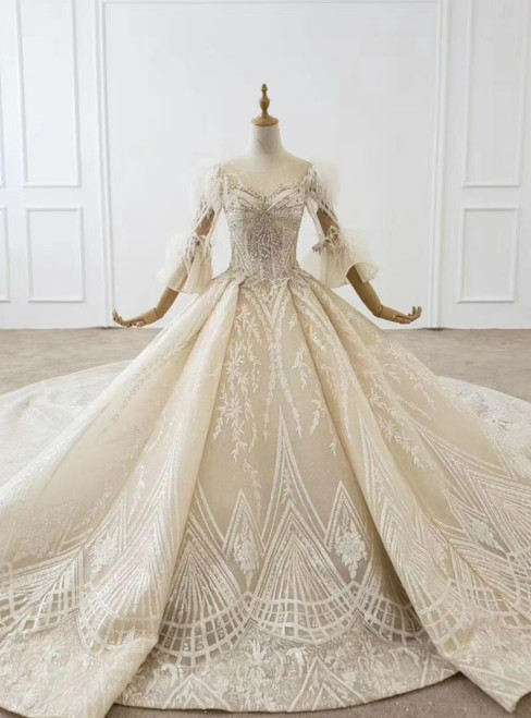 Champagne Tulle Sequins Appliques Beading Feather Puff Sleeve Wedding Dress