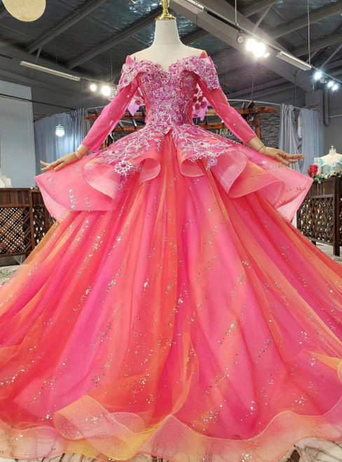 Find Your Dress For Prom! Fuchsia Tulle Sequins Long Sleeve Appliques Beading Prom Dress