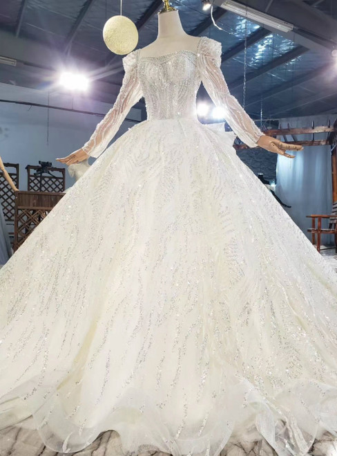 Check Out Entire Collection Tulle Sequins Long Sleeve Open Back Beading Wedding Dress