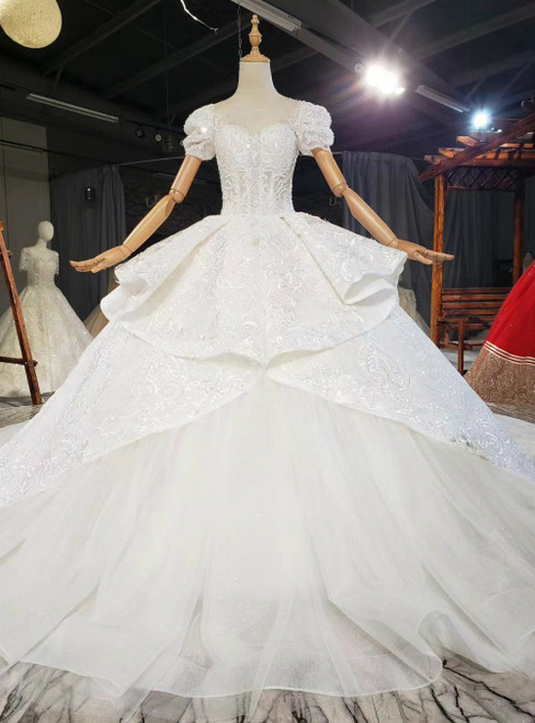 For This Year's Biggest Dance White Tulle Embroidery Lace Puff Sleeve Backless Beading Wedding Dress