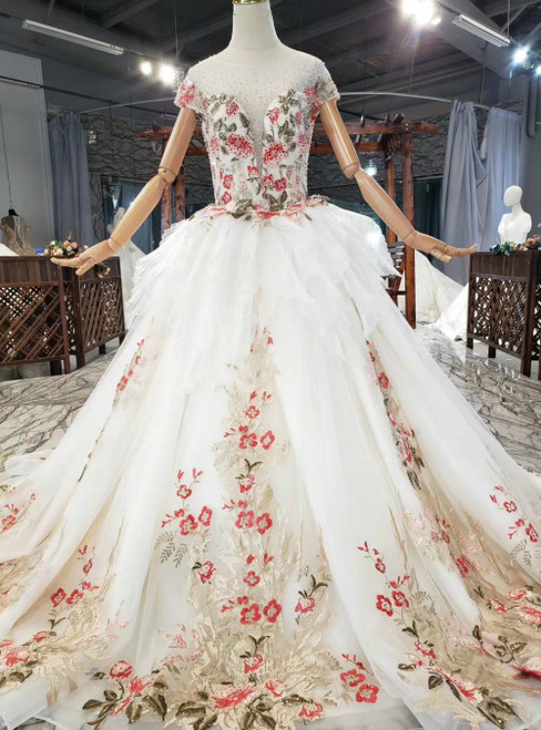 An Extra 40% Off Storewide Ivory Tulle Colorful Embroidey Cap Sleeve Backless Beading Wedding Dress