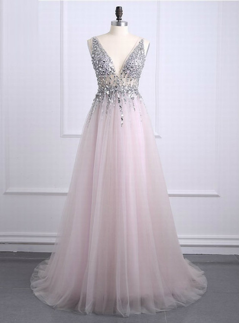 Sexy Prom Dresses 2017 Deep V Neck Backless Bead Crystal Party Gowns Sleeveless