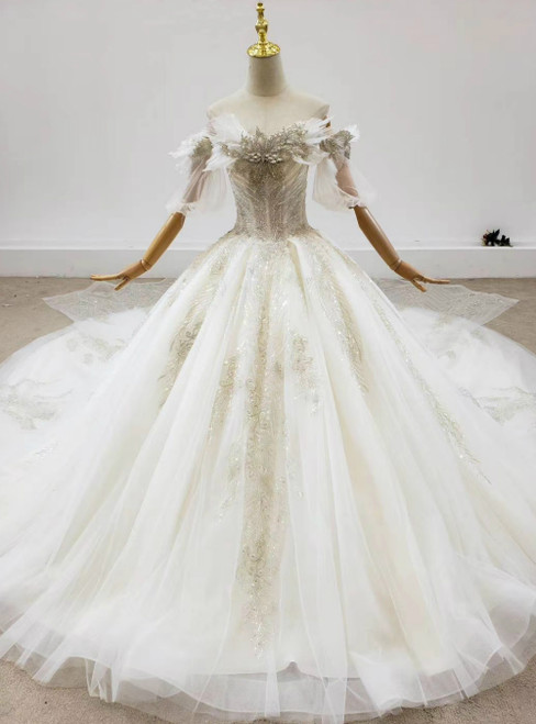 Is a Rite Of Passage Light Champagne Tulle Off the Shoulder Beading Crystal Wedding Dress