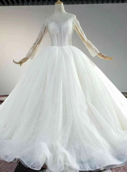The Largest Variety Of Styles Ivory White Tulle Sequins Long SLeeve Open Back Beading Sequins Wedding Dress