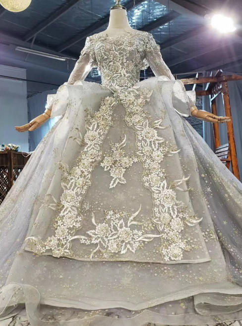Fit Your Fashion Sense Gray Tulle Sequins Embroidery Long Sleeve Wedding Dress With Long Train