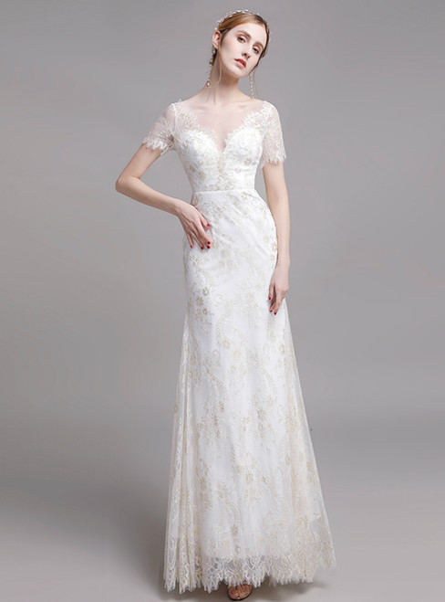 Simple White Lace Short Sleeve Mermaid Wedding Dress