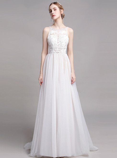 A-Line White Tulle Appliques Sleeveless Pearls Wedding Dress