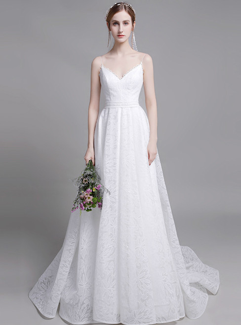 Fashion White Lace Spagehtti Straps Formal Wedding Dress
