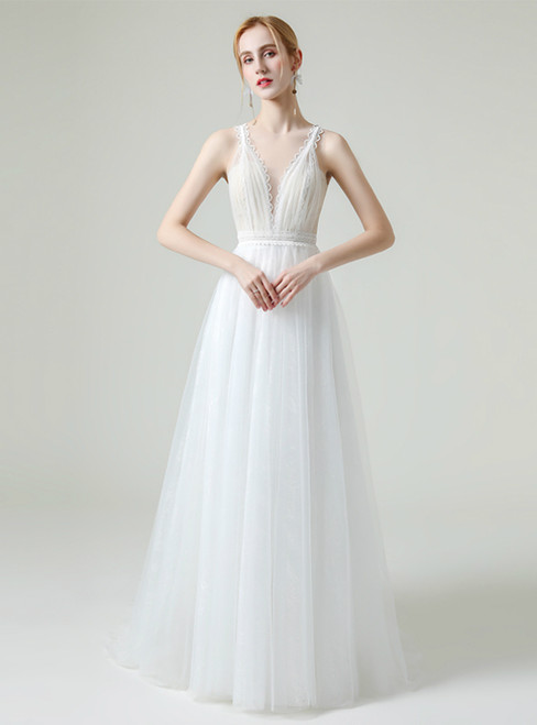 White Tulle V-neck Pleats Covered Button Back Wedding Dress