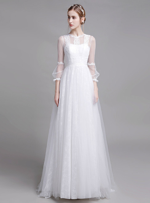 White Tulle Lace Long Sleeve Pearls Back Beach Wedding Dress
