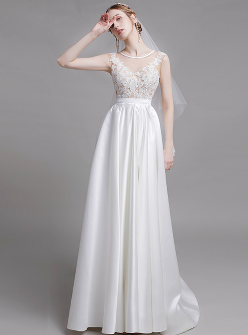 White Satin Scoop Lace Appliques Illusion Wedding Dress