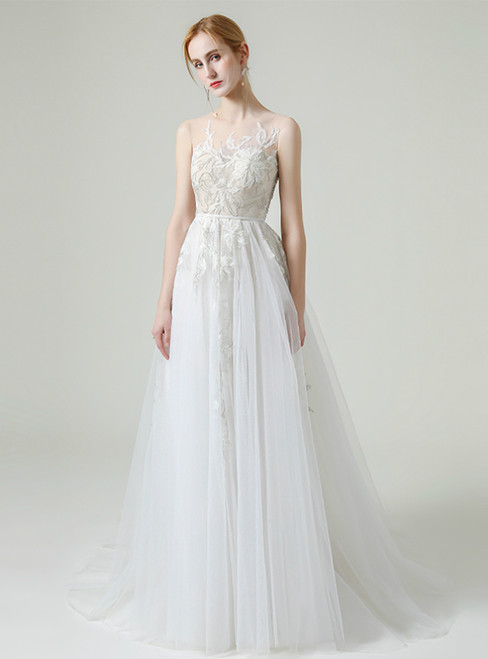 White Tulle Appliques Beading Sleeveless Wedding Dress