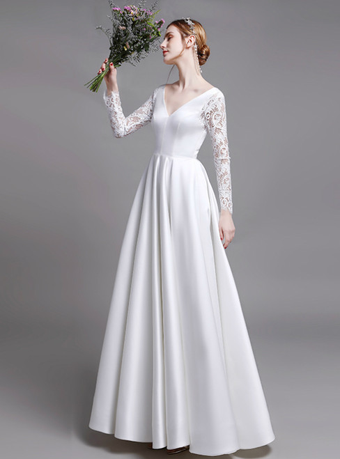 White Satin Lace Long Sleeve V-neck Open Back Wedding Dress