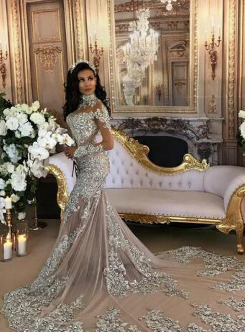 Luxury Sparkly Sheer Bling Beaded Lace Applique High Neck Wedding Dress