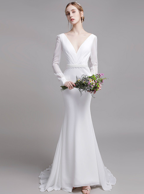 White Mermaid Chiffon V-neck Long Sleeve Pleats Wedding Dress