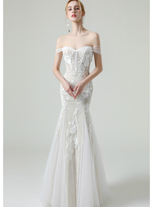 White Mermaid Tulle Appliques Off the Shoulder Wedding Dress With Removable Train