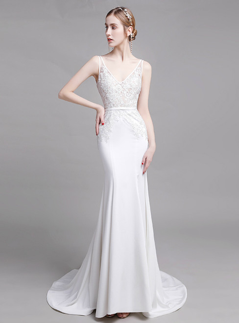 White Mermaid Satin Lace Appliques Backless Wedding Dress