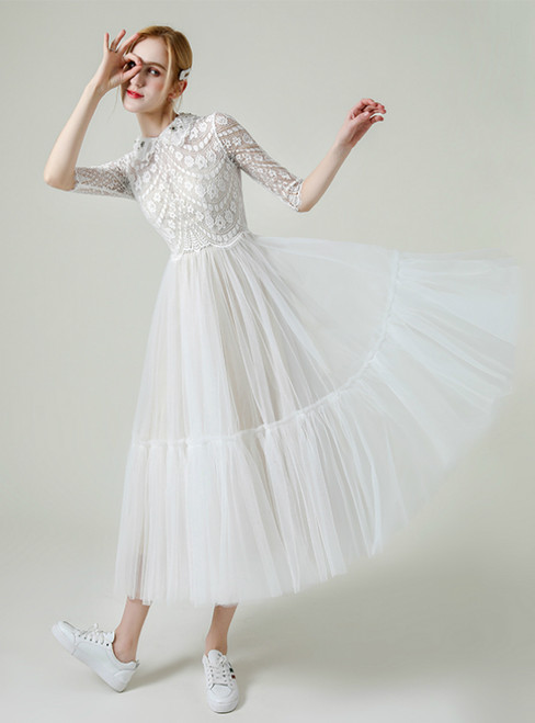 Simple White Tulle Lace 3/4 Sleeve Tea Length Wedding Dress